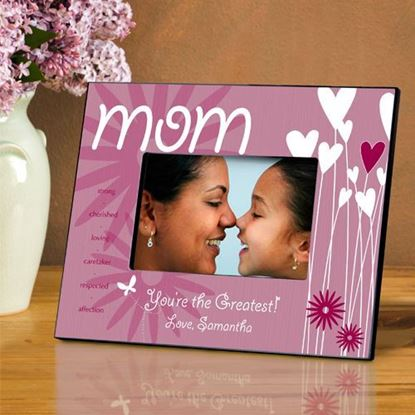 Personalized Heart and Flowers MOM Picture Frame