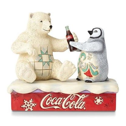 Jim Shore Coca Cola Polar Bear And Penguin Figurine