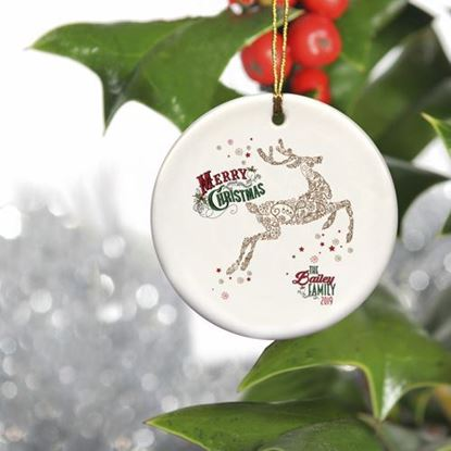 Personalized  Family Name Reindeer Ceramic Ornament