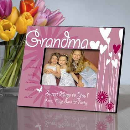 Personalized Hearts and Flowers Grandma Picture Frame