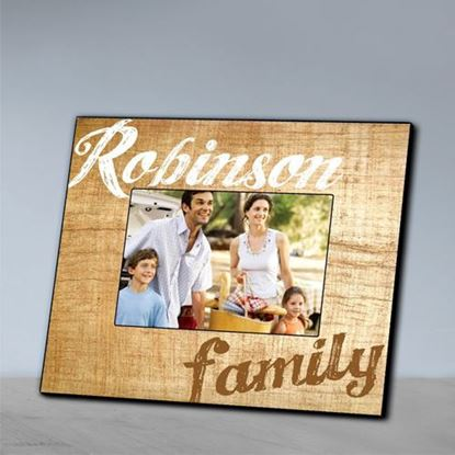 Personalized Family Brown Wood Grain Picture Frame