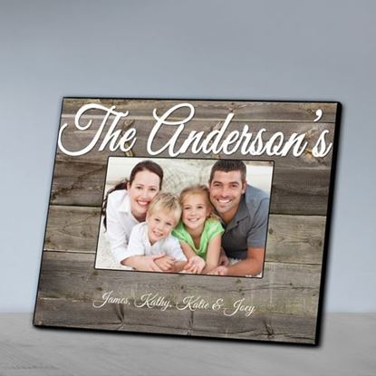 Personalized Family Gray Wood Grain Picture Frame