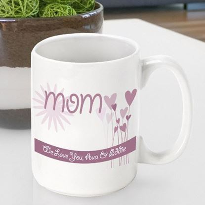 Personalized Mother's Day Hearts and Flowers Coffee Mug