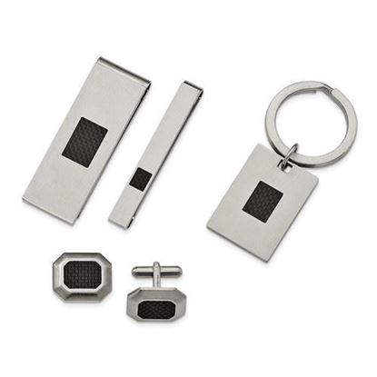 Stainless Steel Brushed Black Carbon Fiber Inlay 4-Piece Set