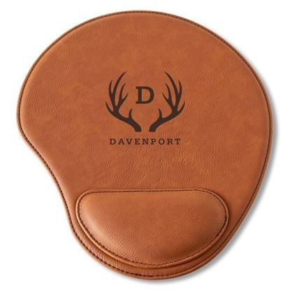 Personalized Antler Design Rawhide Mouse Pad