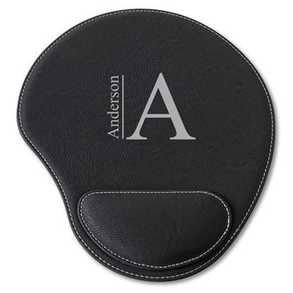 Personalized Modern Design Black Faux Leather Mouse Pad