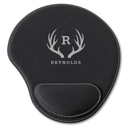 Personalized Antler Design Black Faux Leather Mouse Pad