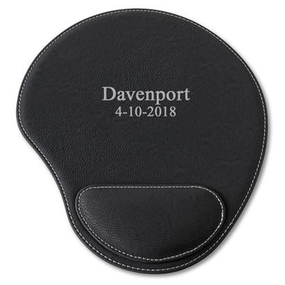 Personalized 2 Line Design Black Faux Leather Mouse Pad