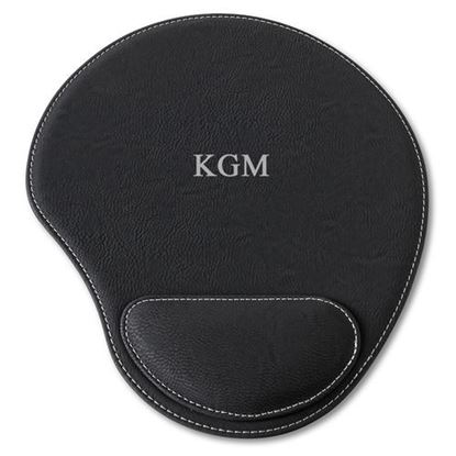 Personalized Initials Design Black Faux Leather Mouse Pad