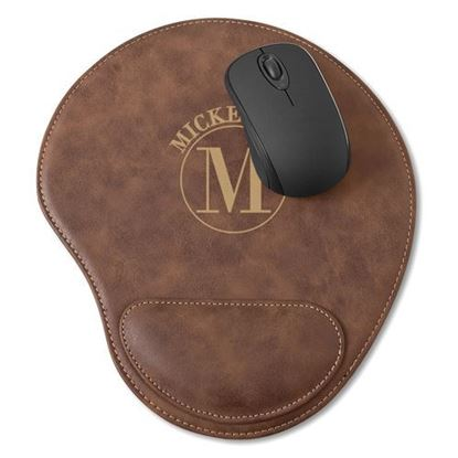 Personalized Circle Design Rustic Faux Leather Mouse Pad