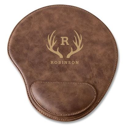 Personalized Antler Design Rustic Faux Leather Mouse Pad