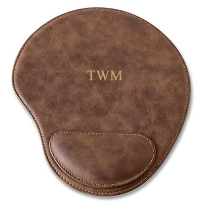 Personalized Initials Design Rustic Faux Leather Mouse Pad