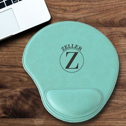 Personalized Circle Design Mint Green Faux Leather Mouse Pad