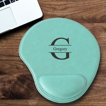 Personalized Stamped Design Mint Green Faux Leather Mouse Pad