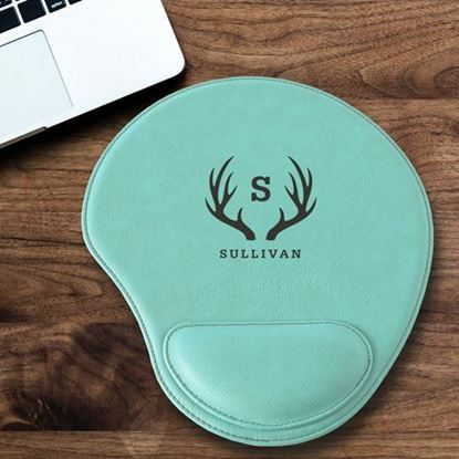 Personalized Antler Design Mint Green Faux Leather Mouse Pad
