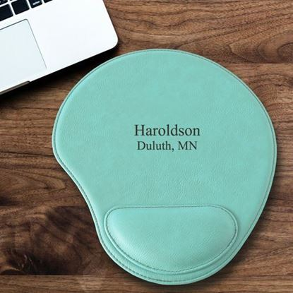 Personalized 2 Line Design Mint Green Faux Leather Mouse Pad