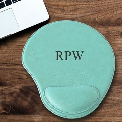 Personalized Initials Design Mint Green Faux Leather Mouse Pad