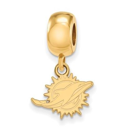 Picture of Miami Dolphins Sterling Silver Gold Plated Dangle Charm Bead