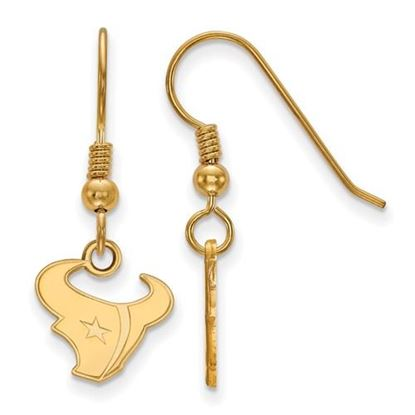 Picture of Houston Texans Sterling Silver Gold Plated Wire Dangle Earrings