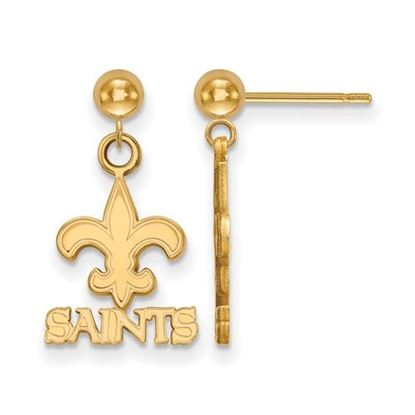 Picture of New Orleans Saints Sterling Silver Gold Plated Dangle Earrings