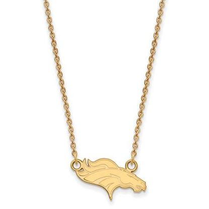 Picture of Denver Broncos Sterling Silver Gold Plated Small Pendant Necklace
