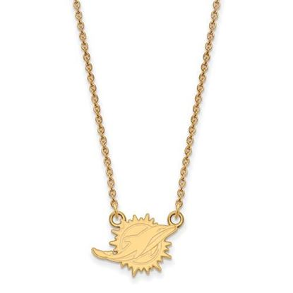 Picture of Miami Dolphins Sterling Silver Gold Plated Small Pendant Necklace