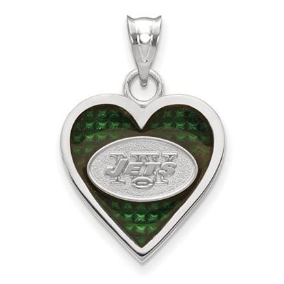 Picture of New York Jets Sterling Silver Enameled Heart Pendant