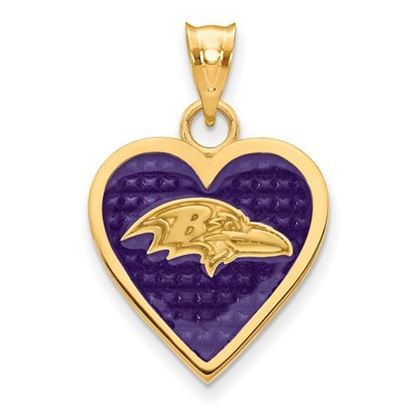 Picture of Carolina Panthers Sterling Silver Gold Plated Enameled Heart Pendant