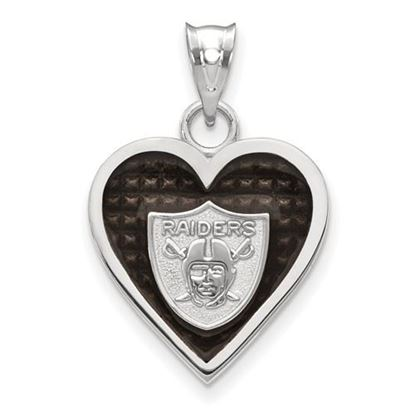 Picture of Oakland Raiders Sterling Silver Enameled Heart Pendant