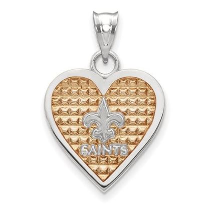 Picture of New Orleans Saints Sterling Silver Enameled Heart Pendant