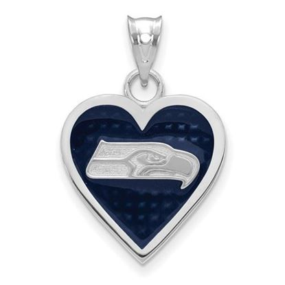Picture of Seattle Seahawks Sterling Silver Enameled Heart Pendant