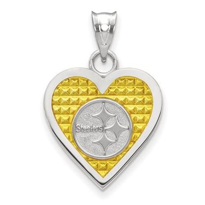 Picture of Pittsburgh Steelers Sterling Silver Enameled Heart Pendant