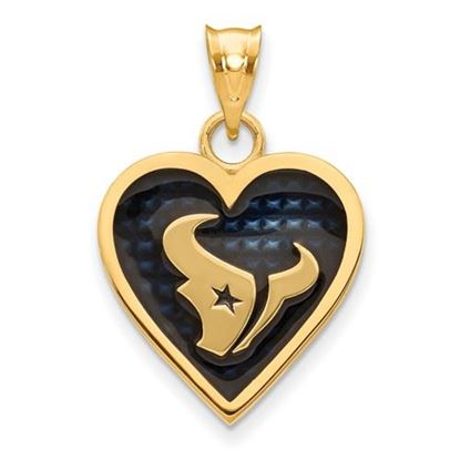 Picture of Houston Texans Sterling Silver Gold Plated Enameled Heart Pendant