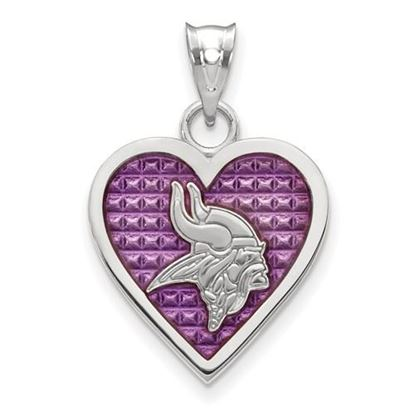Picture of Minnesota Vikings Sterling Silver Enameled Heart Pendant