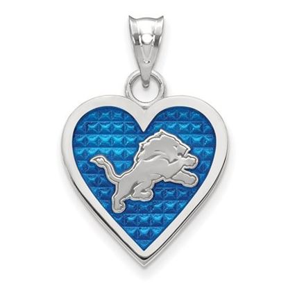 Picture of Detroit Lions Sterling Silver Enameled Heart Pendant