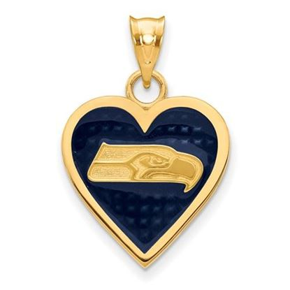 Picture of Seattle Seahawks Sterling Silver Gold Plated Enameled Heart Pendant