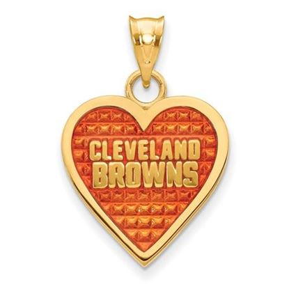 Picture of Cleveland Browns Sterling Silver Gold Plated Enameled Heart Pendant