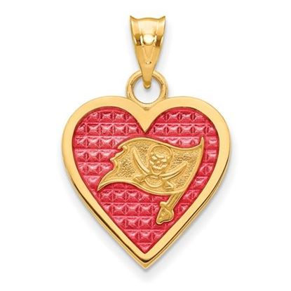 Picture of Tampa Bay Buccaneers Sterling Silver Gold Plated Enameled Heart Pendant