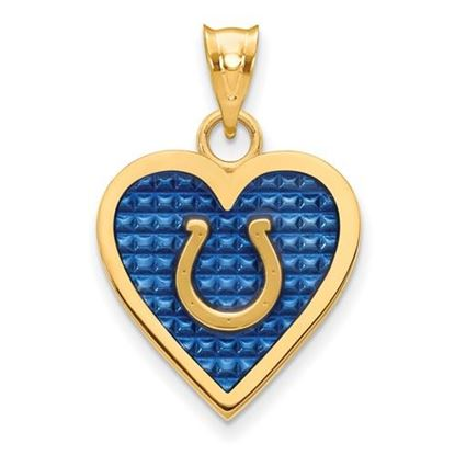 Picture of Indianapolis Colts Sterling Silver Gold Plated Enameled Heart Pendant