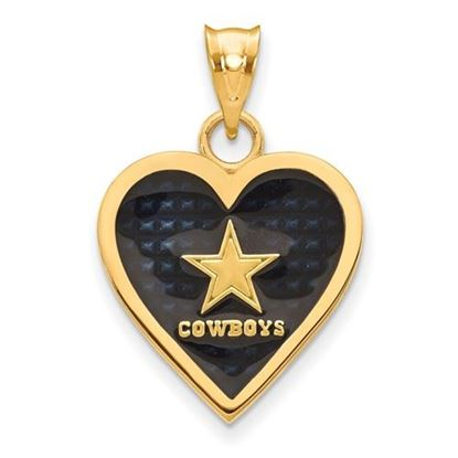 Picture of Dallas Cowboys Sterling Silver Gold Plated Enameled Heart Pendant