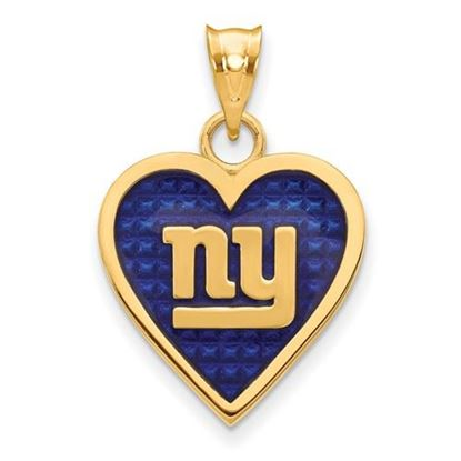 Picture of New York Giants Sterling Silver Gold Plated Enameled Heart Pendant