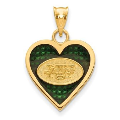 Picture of New York Jets Sterling Silver Gold Plated Enameled Heart Pendant