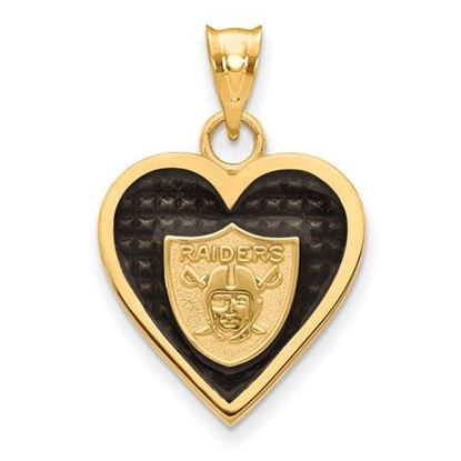 Picture of Oakland Raiders Sterling Silver Gold Plated Enameled Heart Pendant
