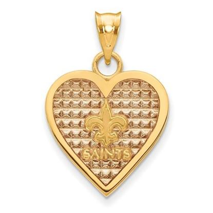 Picture of New Orleans Saints Sterling Silver Gold Plated Enameled Heart Pendant