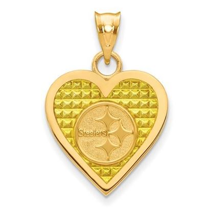 Picture of Pittsburgh Steelers Sterling Silver Gold Plated Enameled Heart Pendant