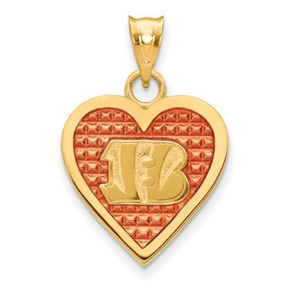 Picture of Cincinnati Bengals Sterling Silver Gold Plated Enameled Heart Pendant