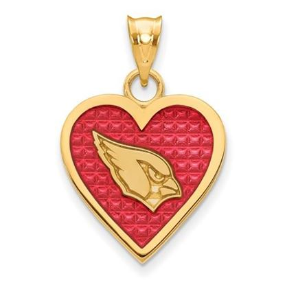 Picture of Arizona Cardinals Sterling Silver Gold Plated Enameled Heart Pendant