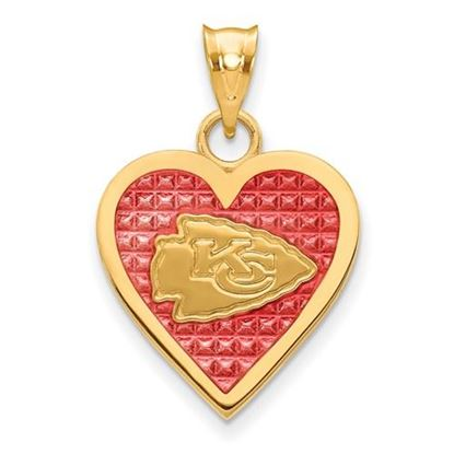 Picture of Kansas City Chiefs Sterling Silver Gold Plated Enameled Heart Pendant