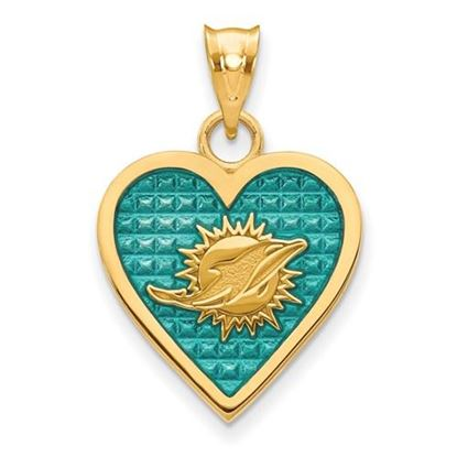 Picture of Miami Dolphins Sterling Silver Gold Plated Enameled Heart Pendant