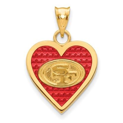 Picture of San Francisco 49ers Sterling Silver Gold Plated  Enameled Heart Pendant